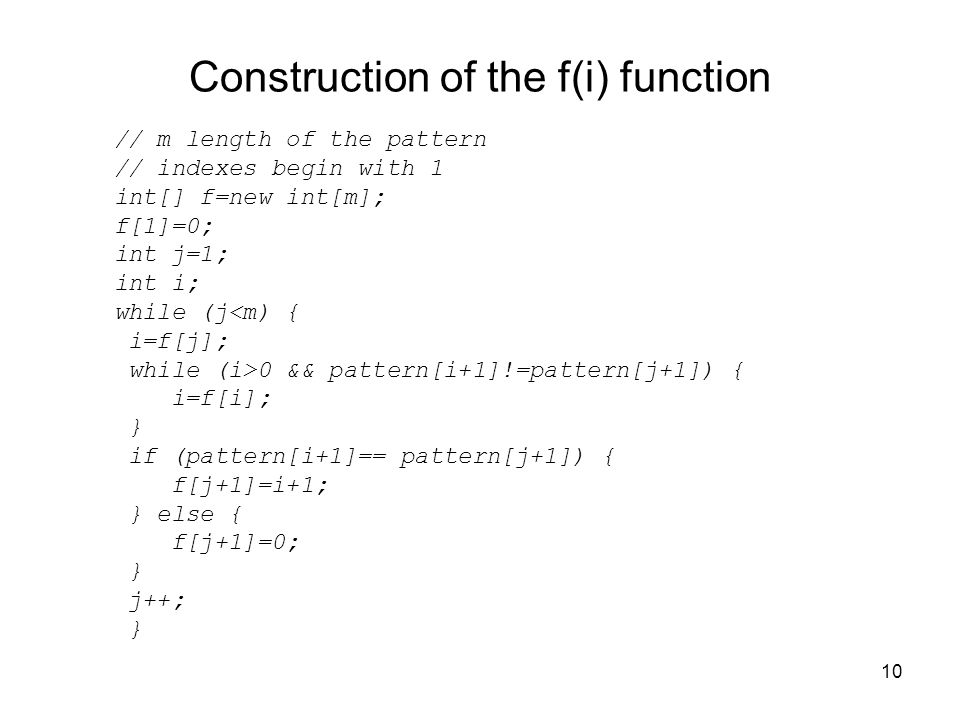 Construction of the f(i) function