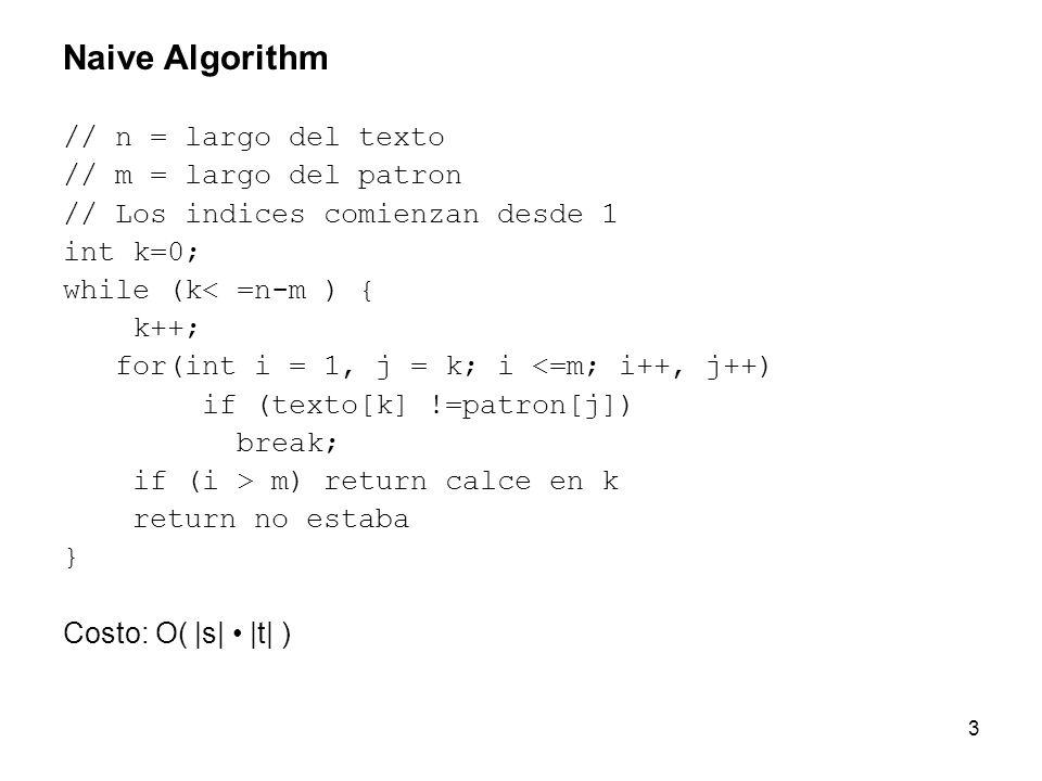 Naive Algorithm // n = largo del texto // m = largo del patron