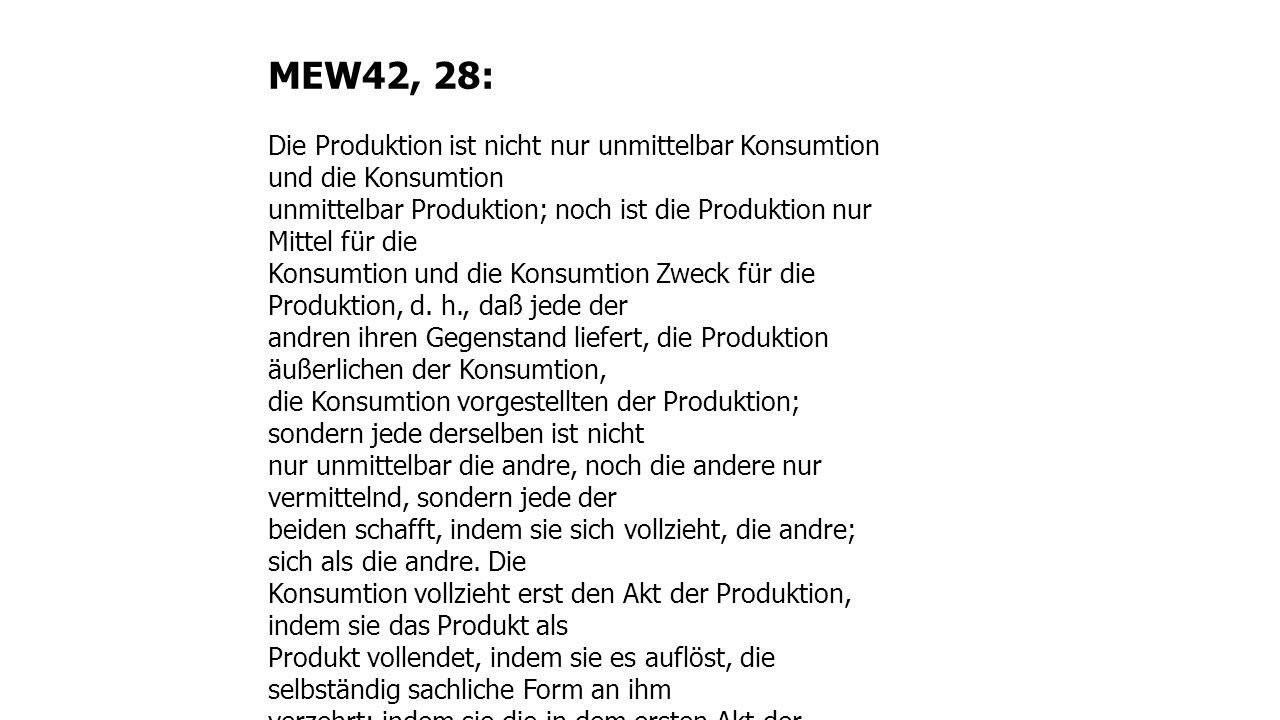 MEW42, 28: Die Produktion ist nicht nur unmittelbar Konsumtion und die Konsumtion.