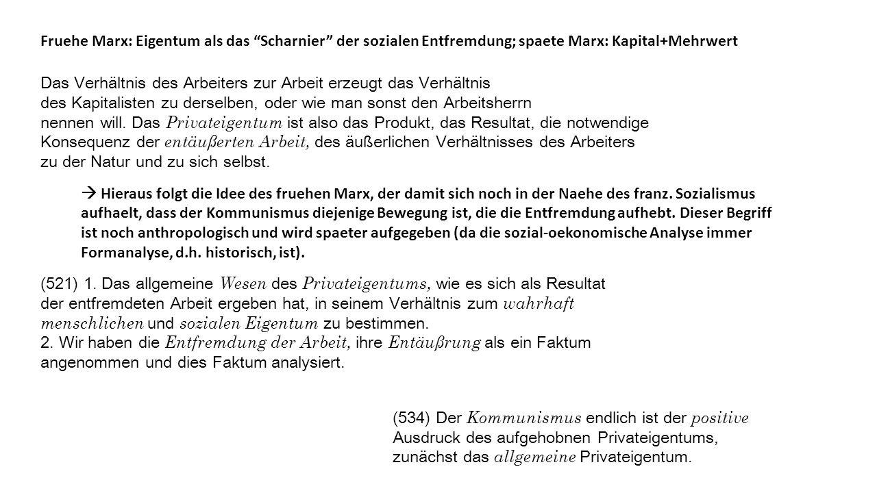 Fruehe Marx: Eigentum als das Scharnier der sozialen Entfremdung; spaete Marx: Kapital+Mehrwert