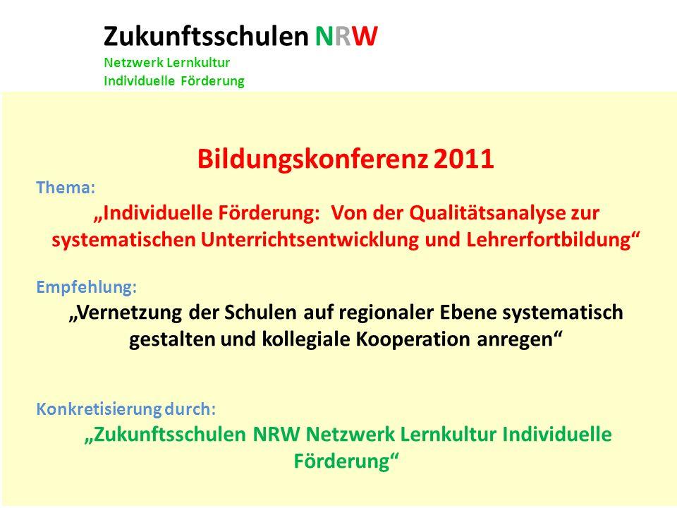 """""""Zukunftsschulen NRW Netzwerk Lernkultur Individuelle Förderung"""