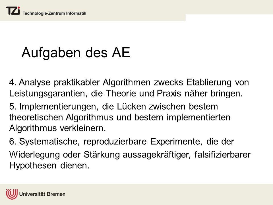Aufgaben des AE 4. Analyse praktikabler Algorithmen zwecks Etablierung von Leistungsgarantien, die Theorie und Praxis näher bringen.