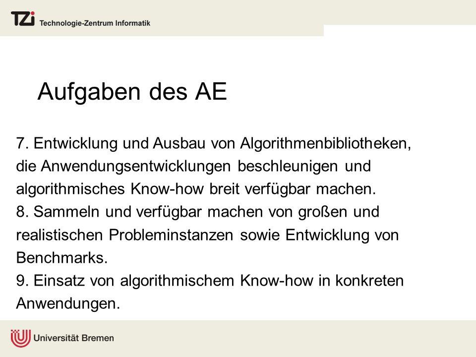 Aufgaben des AE 7. Entwicklung und Ausbau von Algorithmenbibliotheken,