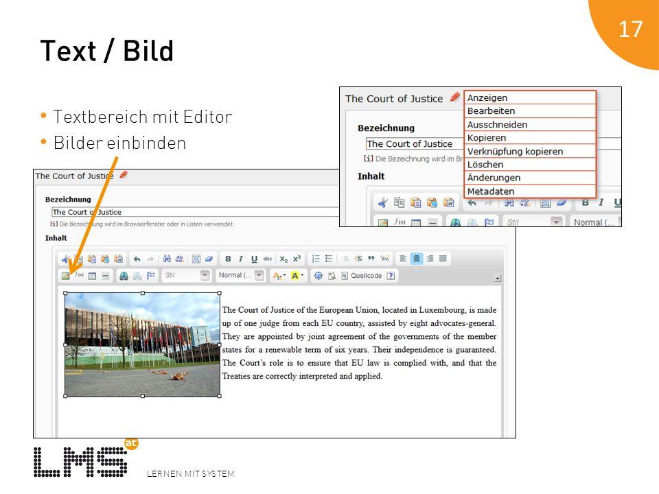 Text / Bild Textbereich mit Editor Bilder einbinden