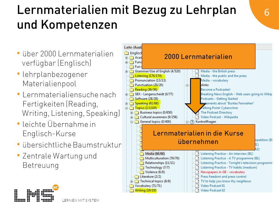 Lernmaterialien mit Bezug zu Lehrplan und Kompetenzen