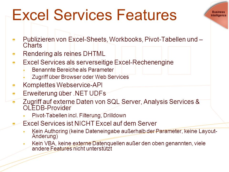 Excel Services Features