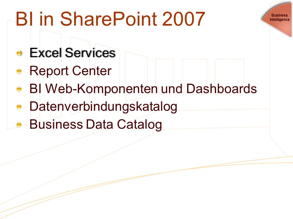 BI in SharePoint 2007 Excel Services Report Center
