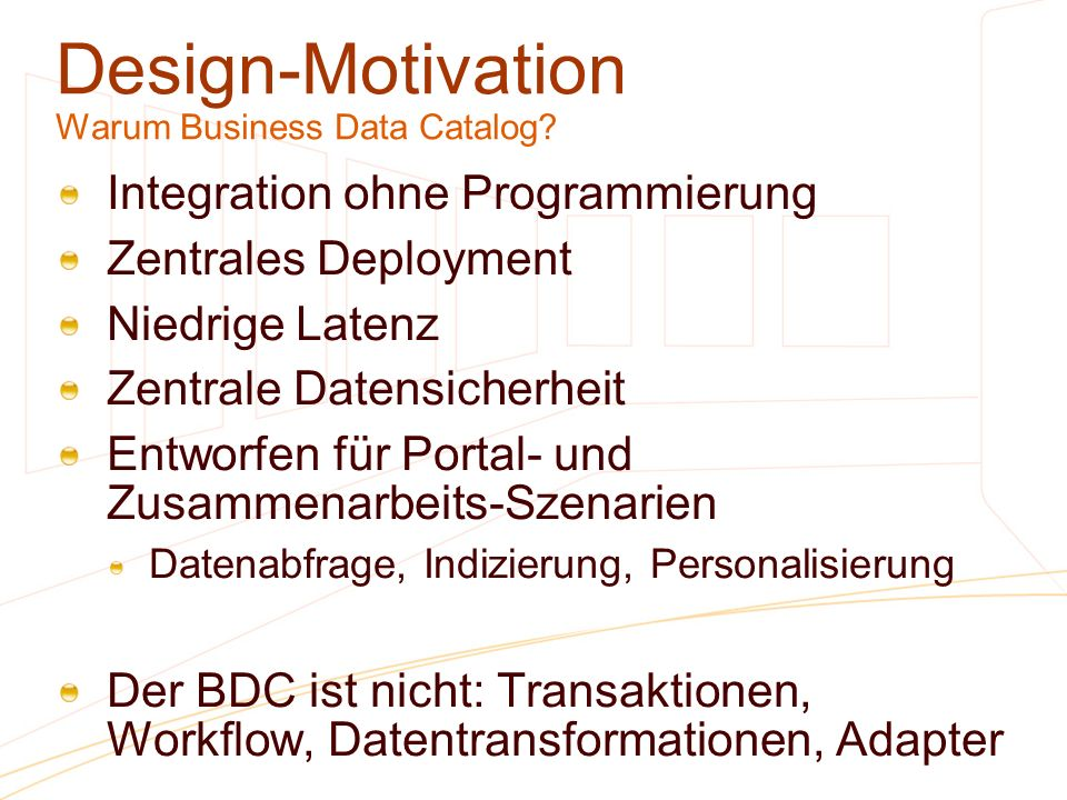 Design-Motivation Warum Business Data Catalog