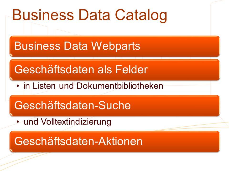 Business Data Catalog Business Data Webparts Geschäftsdaten als Felder