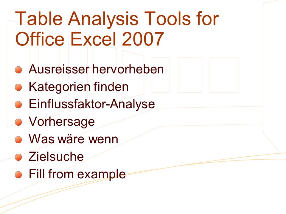 Table Analysis Tools for Office Excel 2007