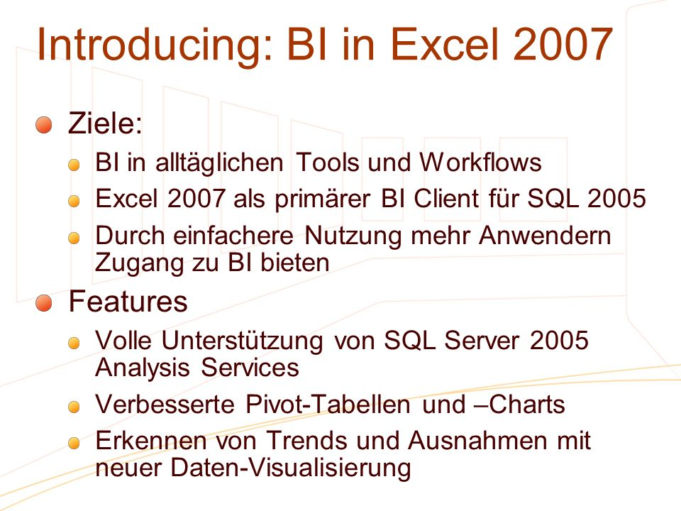 Introducing: BI in Excel 2007