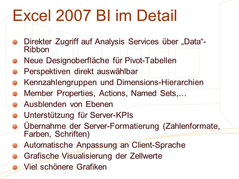 """3/28/2017 1:06 PMExcel 2007 BI im Detail. Direkter Zugriff auf Analysis Services über """"Data -Ribbon."""