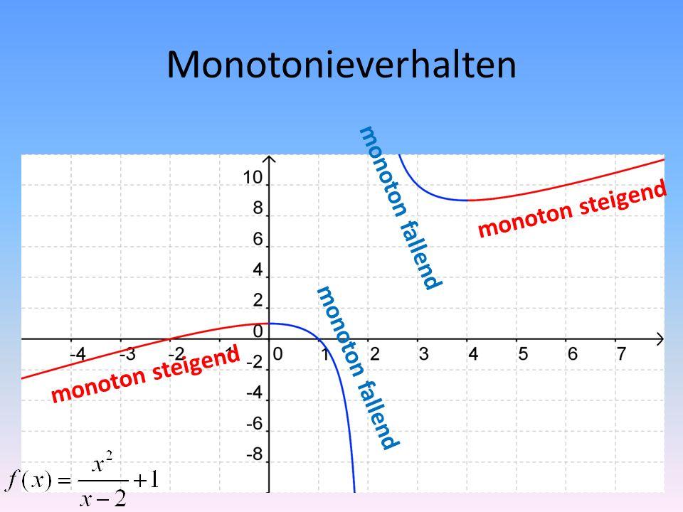 Monotonieverhalten monoton fallend monoton steigend monoton fallend