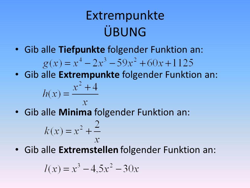 Extrempunkte ÜBUNG Gib alle Tiefpunkte folgender Funktion an: