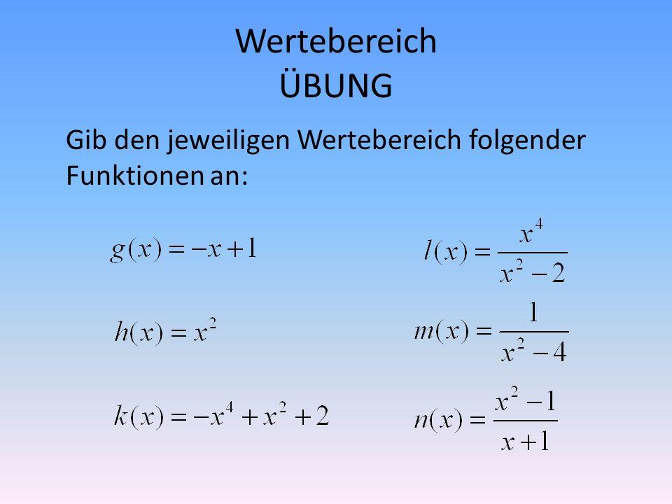Wertebereich ÜBUNG Gib den jeweiligen Wertebereich folgender Funktionen an: Wg=Q Wl={y\in Q|y>=8 oder y<=0}