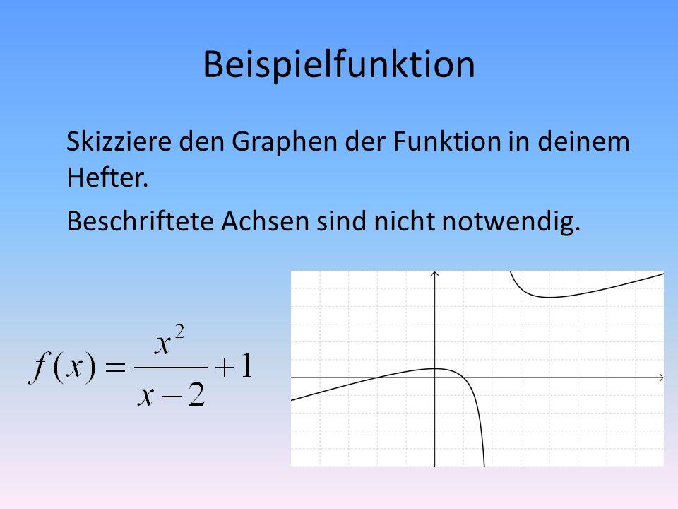 Beispielfunktion Skizziere den Graphen der Funktion in deinem Hefter.