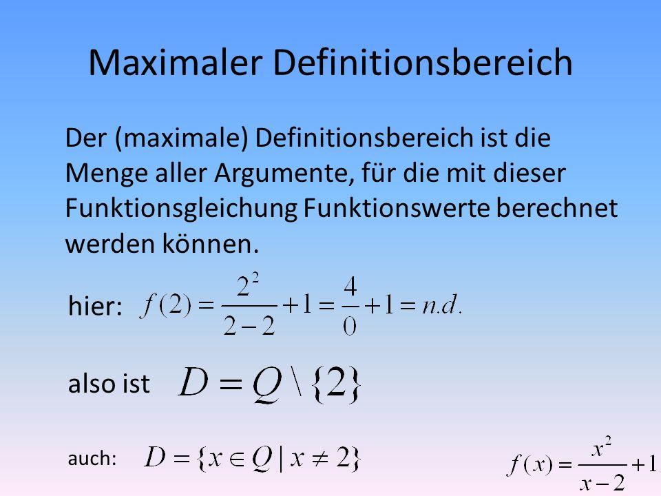 Maximaler Definitionsbereich