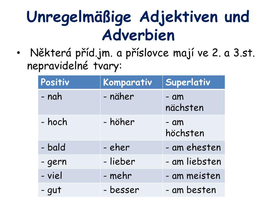 Unregelmäßige Adjektiven und Adverbien