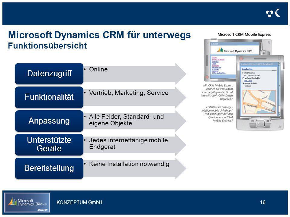 Microsoft Dynamics CRM für unterwegs Funktionsübersicht