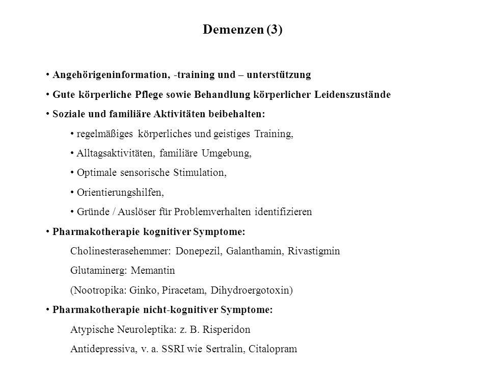 Demenzen (3) Angehörigeninformation, -training und – unterstützung