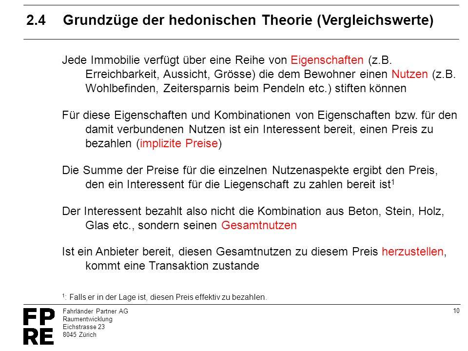 2.4 Grundzüge der hedonischen Theorie (Vergleichswerte)