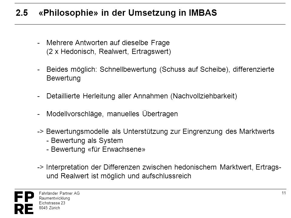2.5 «Philosophie» in der Umsetzung in IMBAS