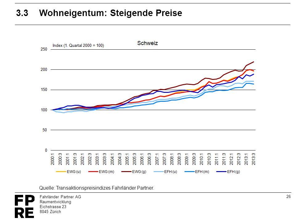 3.3 Wohneigentum: Steigende Preise
