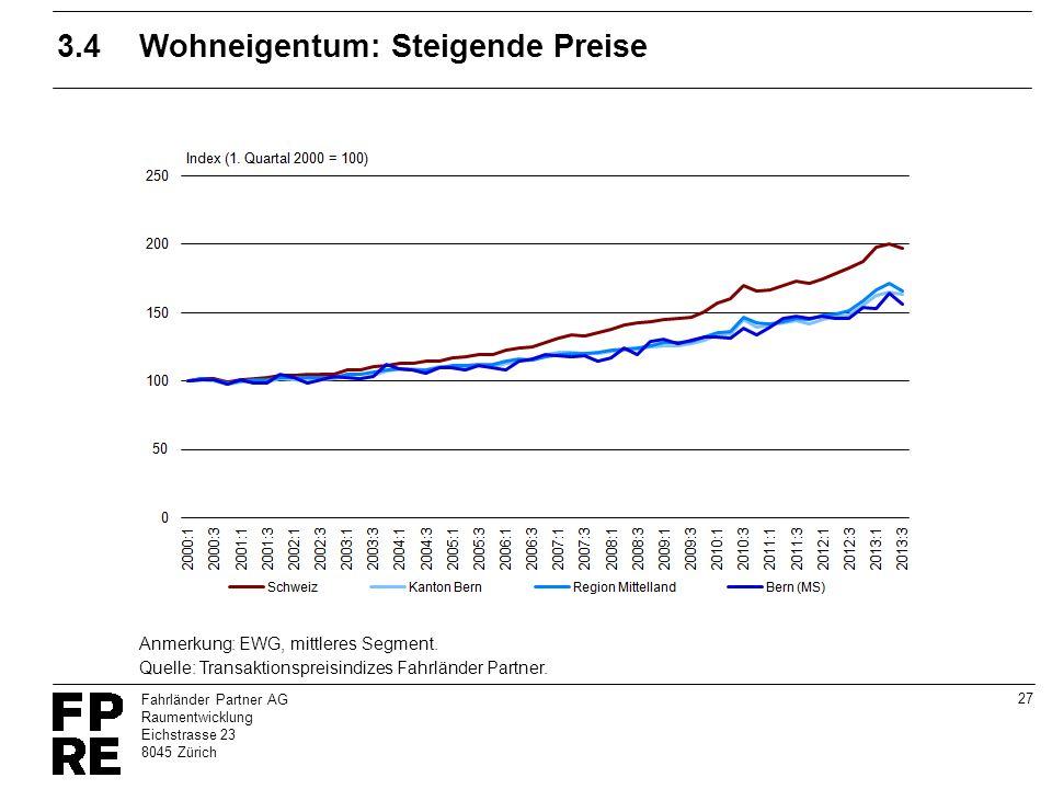 3.4 Wohneigentum: Steigende Preise