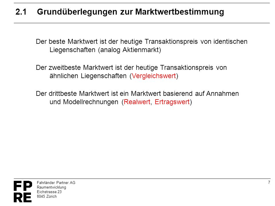 2.1 Grundüberlegungen zur Marktwertbestimmung