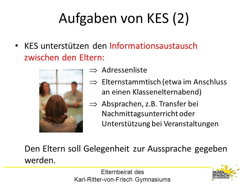 Aufgaben von KES (2) KES unterstützen den Informationsaustausch zwischen den Eltern: Adressenliste.