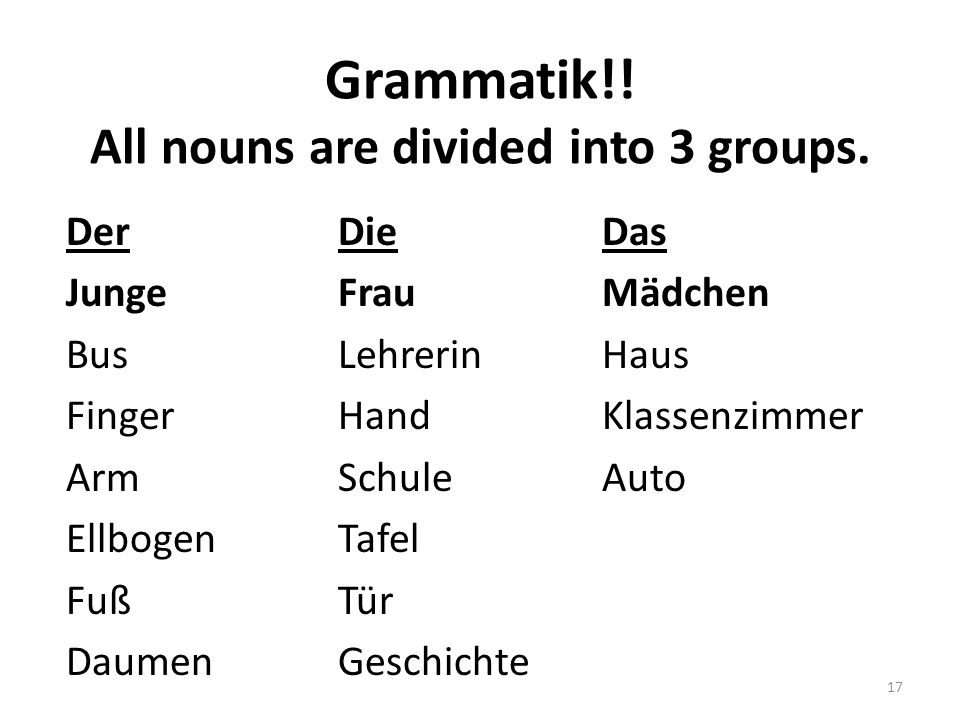 Grammatik!! All nouns are divided into 3 groups.