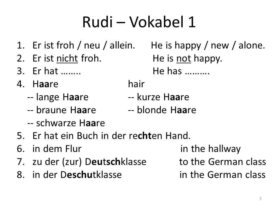 Rudi – Vokabel 1 Er ist froh / neu / allein. He is happy / new / alone. Er ist nicht froh. He is not happy.