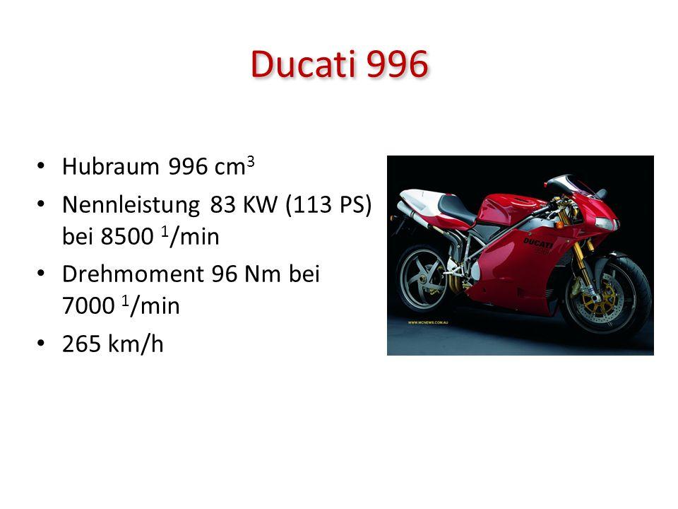 Ducati 996 Hubraum 996 cm3 Nennleistung 83 KW (113 PS) bei 8500 1/min