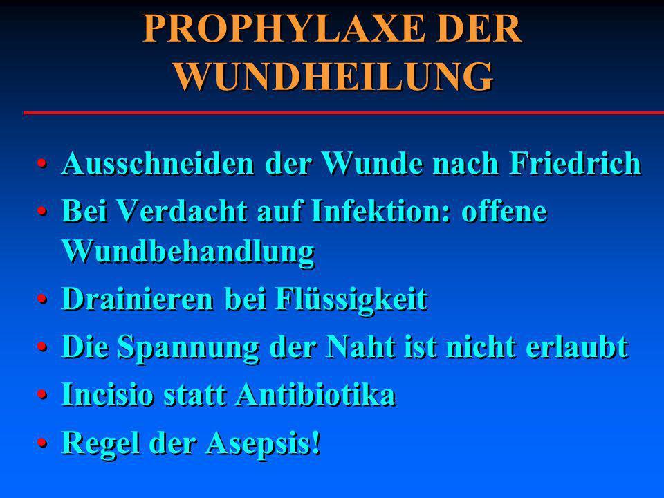 PROPHYLAXE DER WUNDHEILUNG