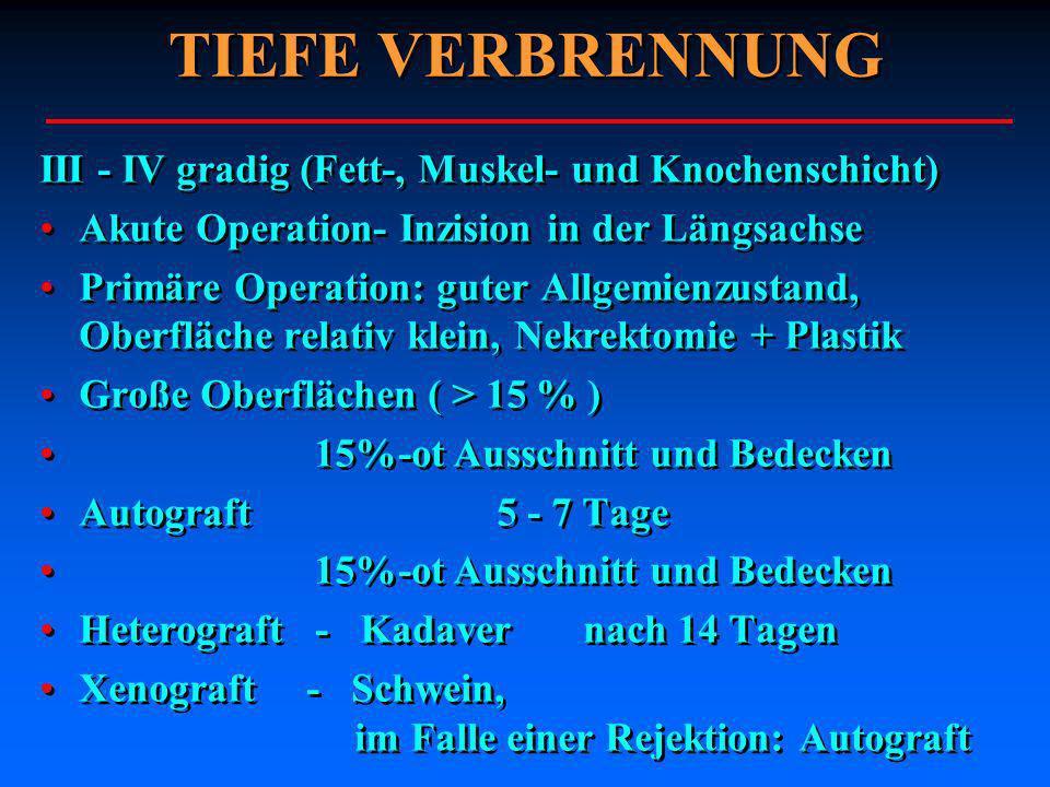 TIEFE VERBRENNUNG III - IV gradig (Fett-, Muskel- und Knochenschicht)
