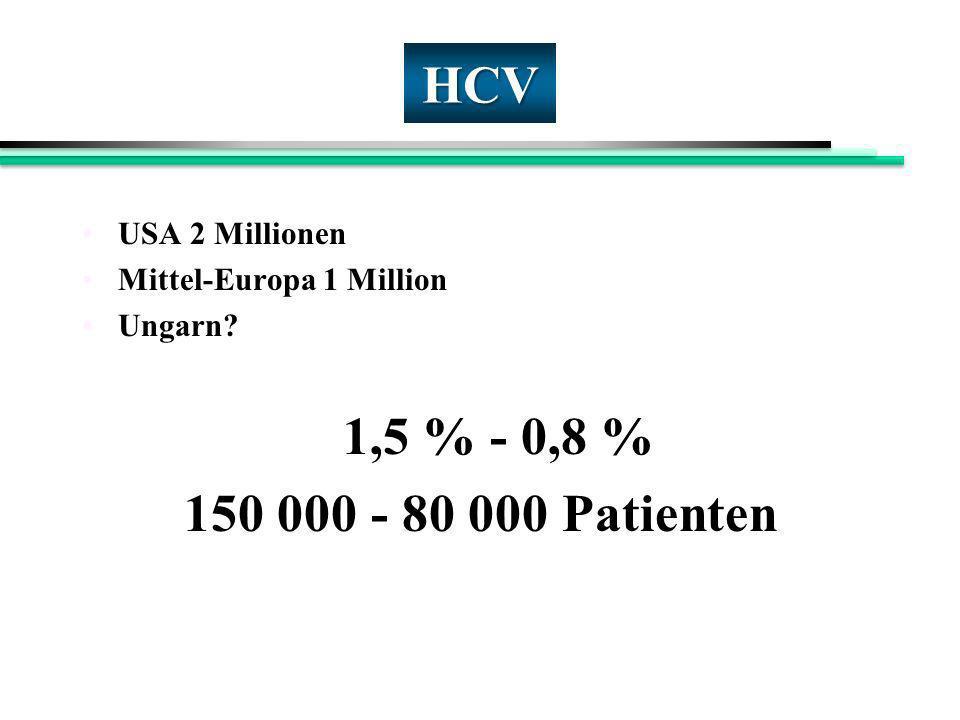 HCV 150 000 - 80 000 Patienten 1,5 % - 0,8 % USA 2 Millionen