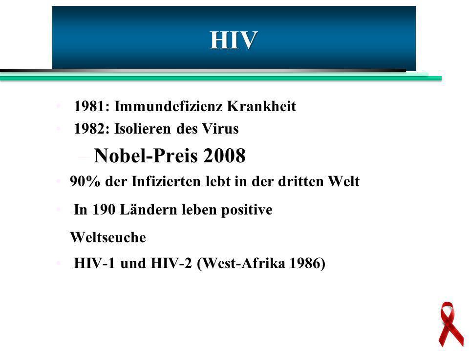 HIV Nobel-Preis 2008 1981: Immundefizienz Krankheit