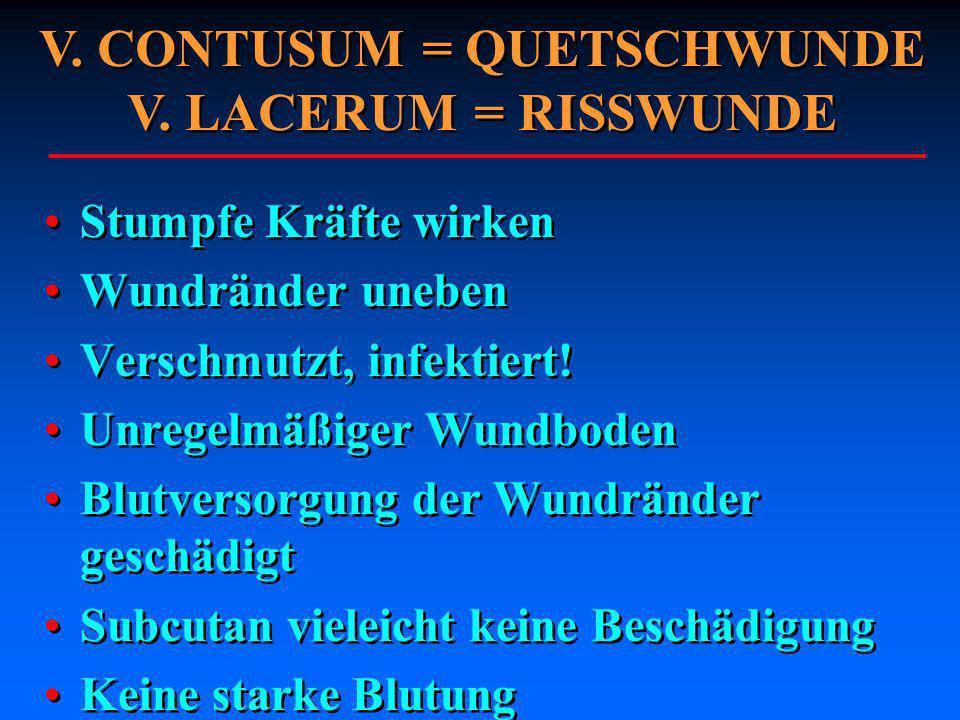 V. CONTUSUM = QUETSCHWUNDE V. LACERUM = RISSWUNDE