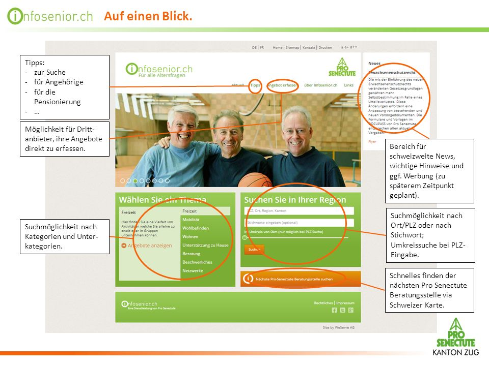 Auf einen Blick. Tipps: zur Suche für Angehörige für die Pensionierung