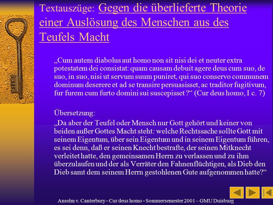 Textauszüge: Gegen die überlieferte Theorie einer Auslösung des Menschen aus des Teufels Macht