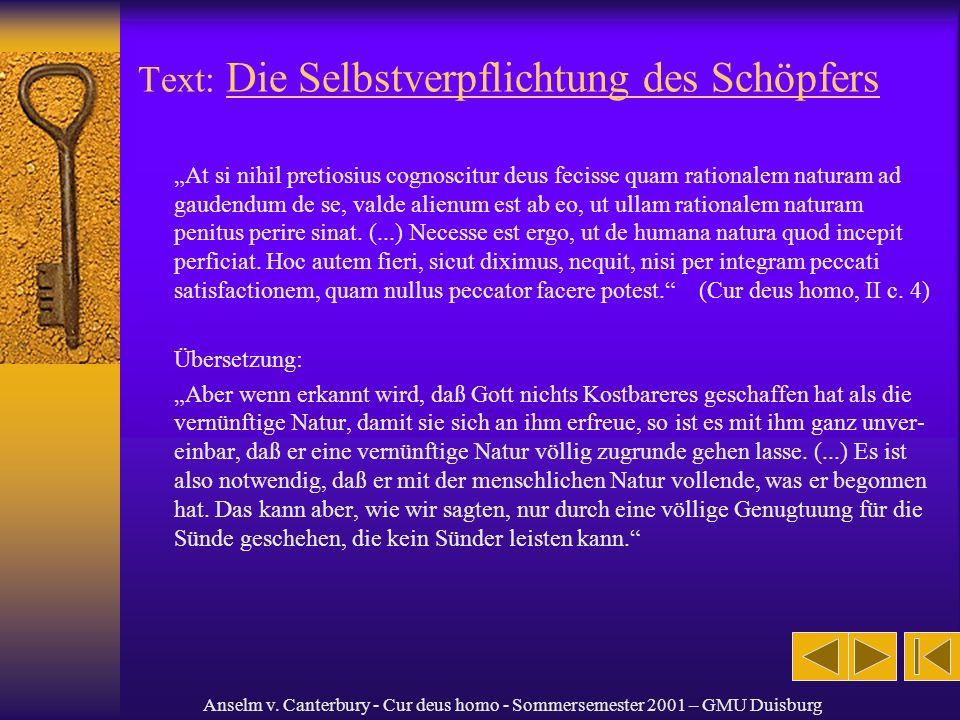 Text: Die Selbstverpflichtung des Schöpfers