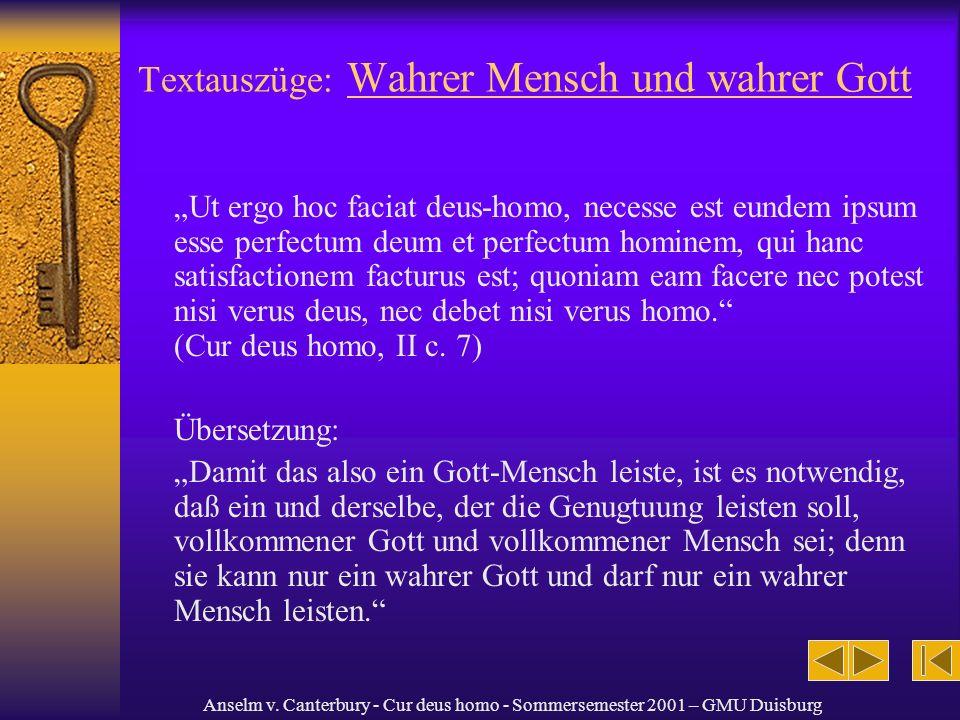 Textauszüge: Wahrer Mensch und wahrer Gott