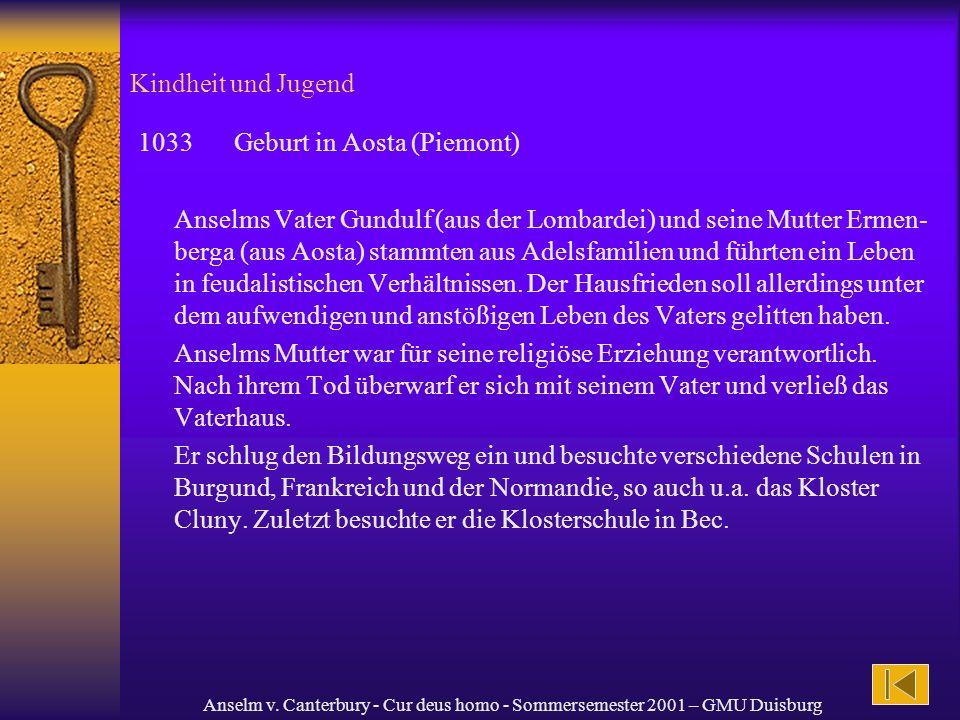 1033 Geburt in Aosta (Piemont)