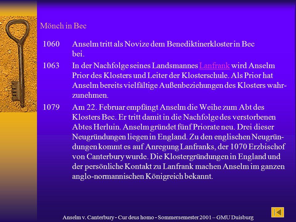 1060 Anselm tritt als Novize dem Benediktinerkloster in Bec bei.