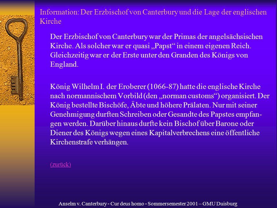 Information: Der Erzbischof von Canterbury und die Lage der englischen Kirche