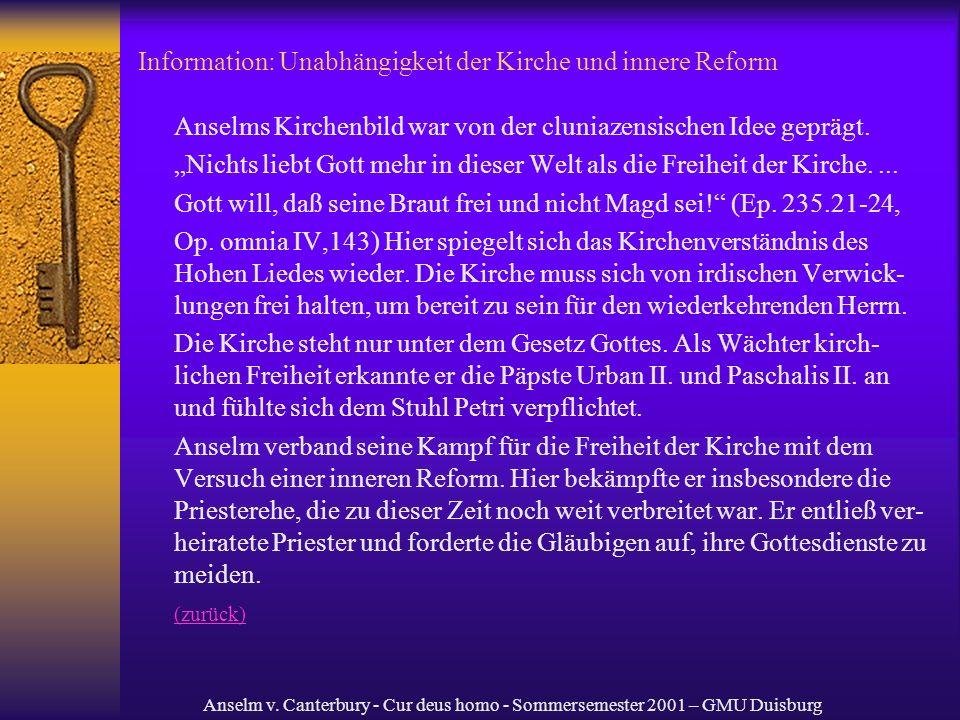 Information: Unabhängigkeit der Kirche und innere Reform