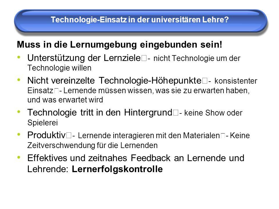 Technologie-Einsatz in der universitären Lehre