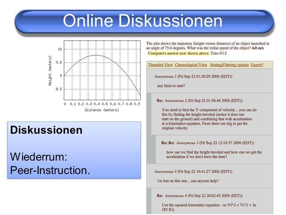 Online Diskussionen Diskussionen Wiederrum: Peer-Instruction.
