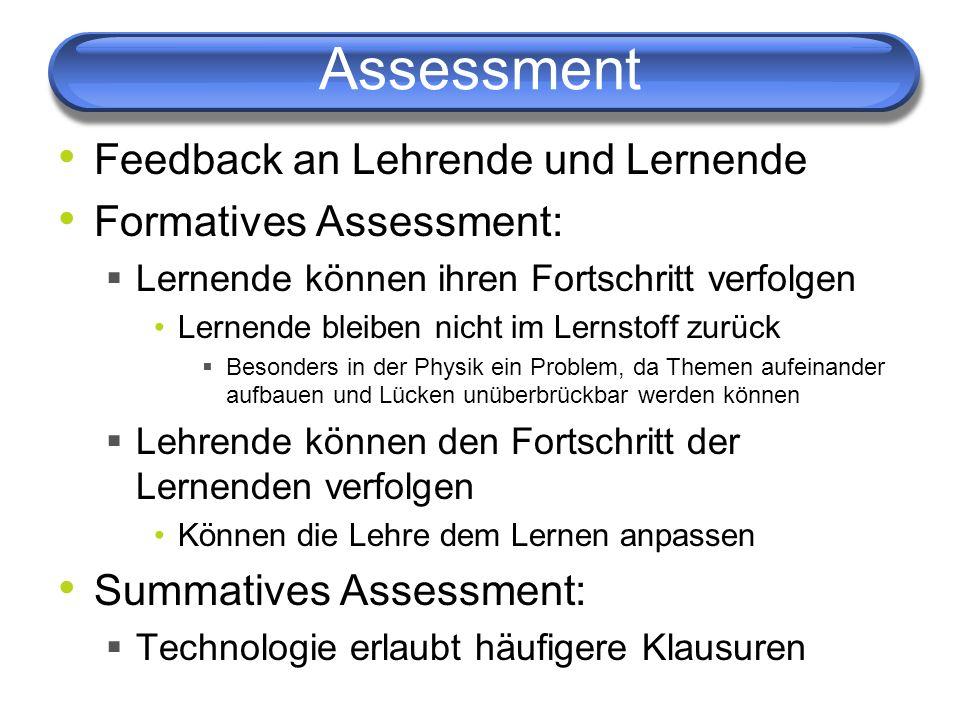 Assessment Feedback an Lehrende und Lernende Formatives Assessment: