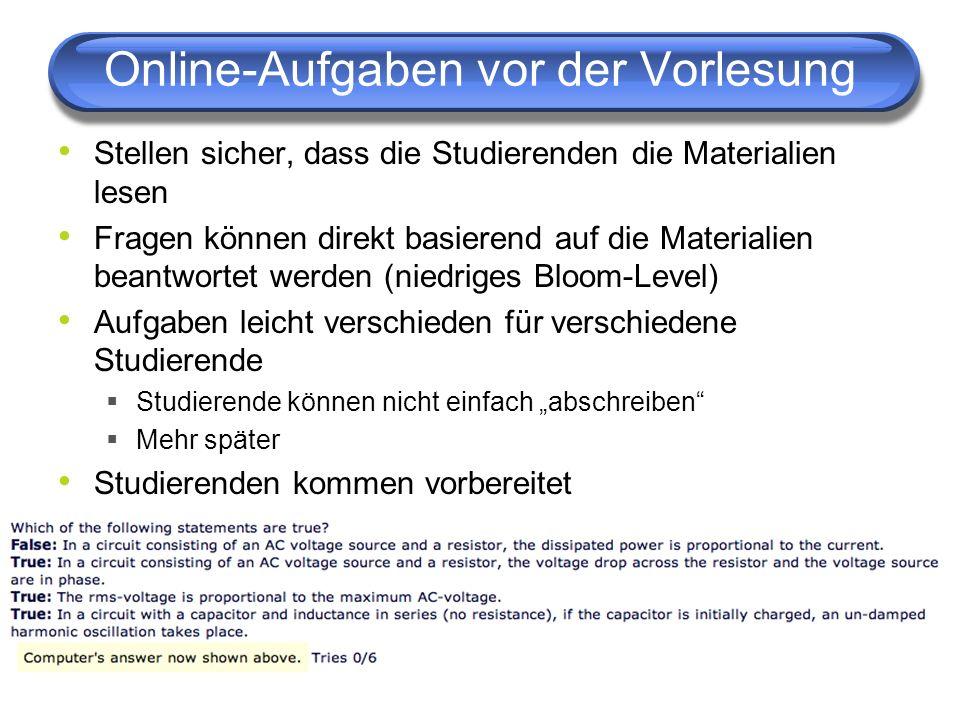 Online-Aufgaben vor der Vorlesung